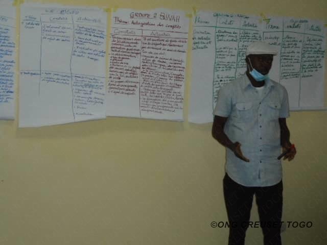Les encadreurs de Clubs d'enfants en formation au siège de Creuset Togo